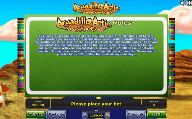 Energy featuring the Video Slots Armadillo Artie Dash for Cash with a maximum payout of $625,000