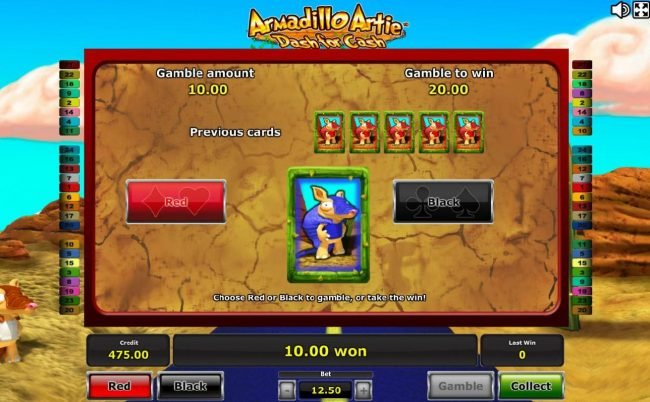 Gamble Feature - To gamble any win press Gamble then select Red/Black.