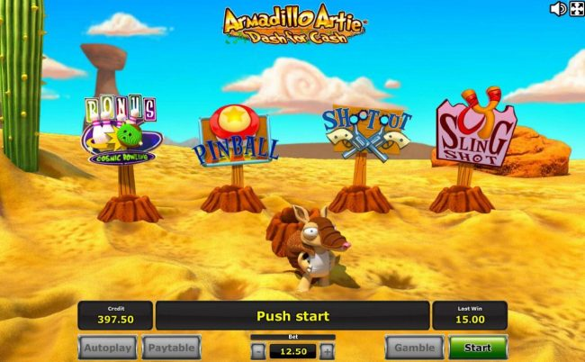 Bonus game board - Armadillo Artie will jump into the hole and randomly popup at one of the bonus features