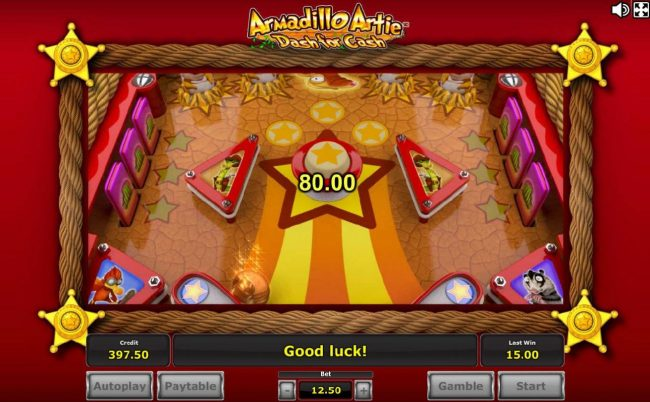 Pinball feature game board - Armadillo Artie will bounce around the game board collecting prize awards for you.