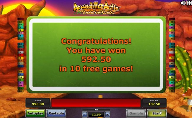 Free Spins features pays out a total of 592.50 for a big win!