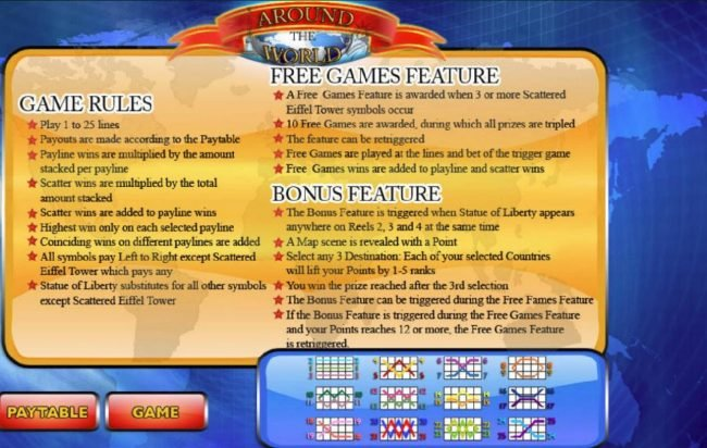 Around the World :: General Game Rules - Free Games Feature - Bonus Feature