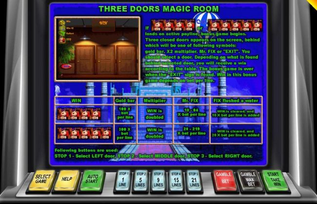 4 or 5 Mr Fix symbols landing on an active payline triggers the Three Doors Magic Room bous feature.