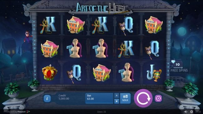 Unique Casino featuring the Video Slots Art of the Heist with a maximum payout of $18,900