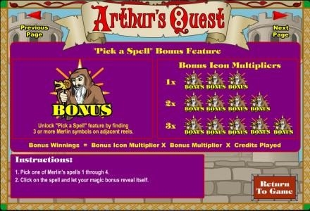 Vegas Spins featuring the Video Slots Arthur's Quest with a maximum payout of $62,500