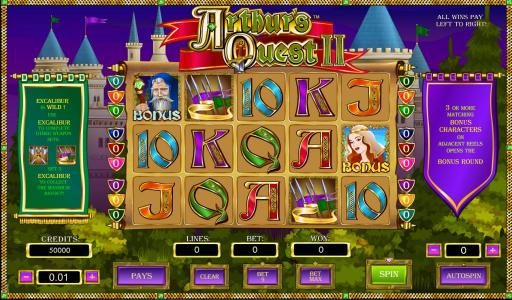 Play slots at Hello: Hello featuring the Video Slots Arthur's Quest II with a maximum payout of $12,500