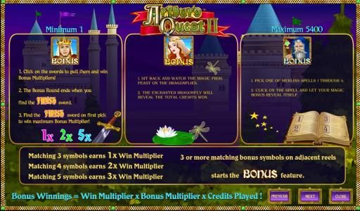 EU Casino featuring the Video Slots Arthur's Quest II with a maximum payout of $12,500