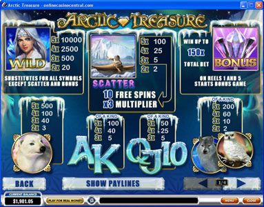 Play slots at LesA Casino: LesA Casino featuring the Video Slots Arctic Treasure with a maximum payout of $50,000