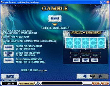 Omni featuring the Video Slots Arctic Treasure with a maximum payout of $50,000