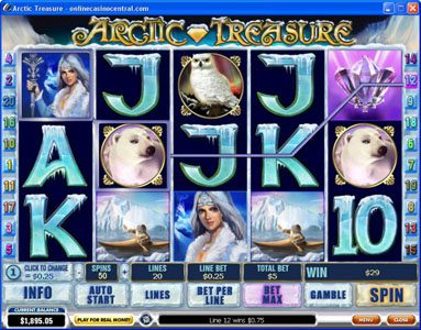 Grand Wild featuring the Video Slots Arctic Treasure with a maximum payout of $50,000