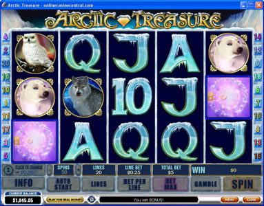 Windows Casino featuring the Video Slots Arctic Treasure with a maximum payout of $50,000