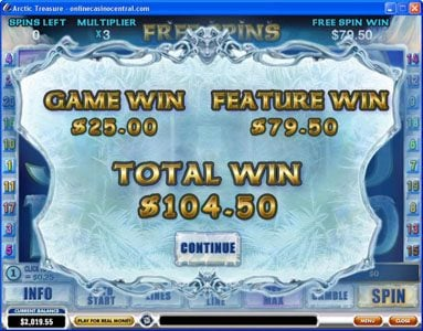 50 Stars featuring the Video Slots Arctic Treasure with a maximum payout of $50,000