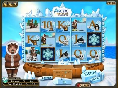 3Dice featuring the Video Slots Artic Treasure with a maximum payout of 5000 coins