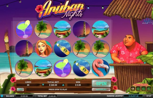 Drake featuring the Video Slots Aruban Nights with a maximum payout of $12,000