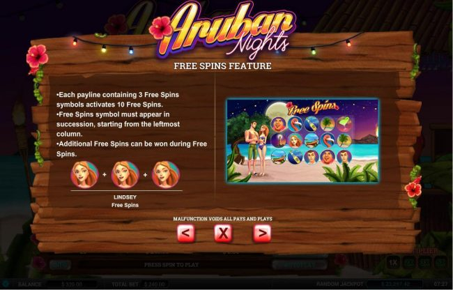 Gossip Slots featuring the Video Slots Aruban Nights with a maximum payout of $12,000