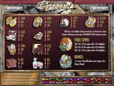 Club Vegas USA featuring the Video Slots A Switch In Time with a maximum payout of $16,972.50