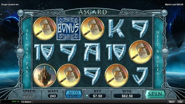 Mighty Slots featuring the Video Slots Asgard with a maximum payout of $15,000
