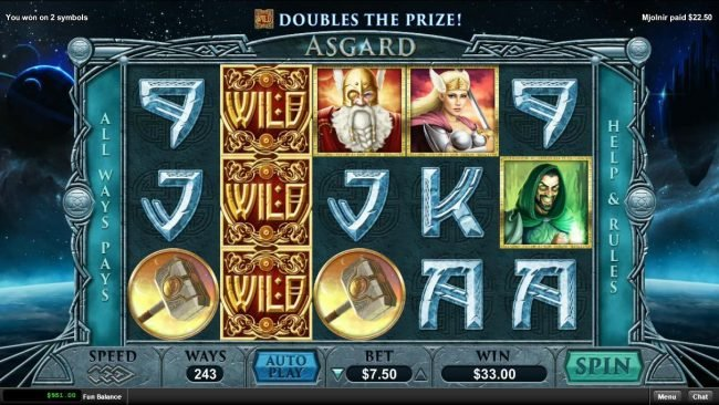 Wild Vegas featuring the Video Slots Asgard with a maximum payout of $15,000