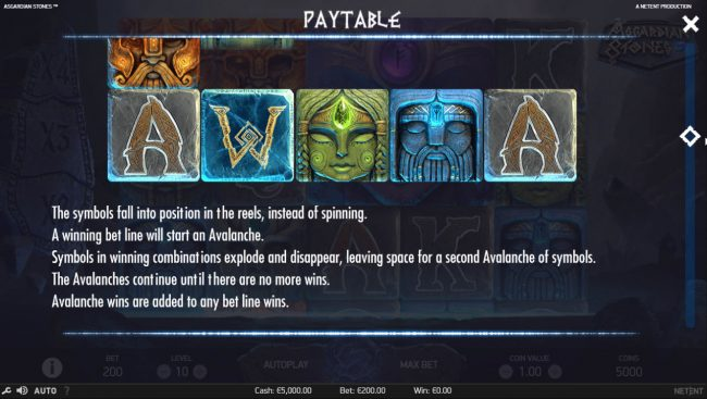 Noxwin featuring the Video Slots Asgardian Stones with a maximum payout of $100,000