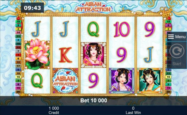 An Asian themed main game board featuring five reels and 40 paylines with a $500,000 max payout