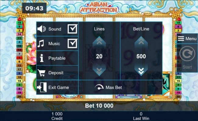 Asian Attraction :: Click on the side menu button to adjust the Lines or Coin Size.