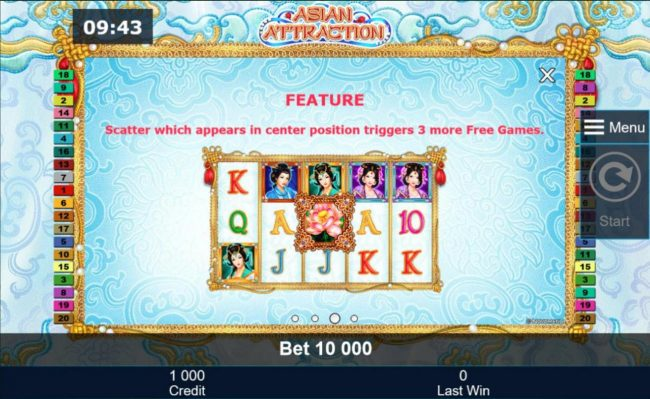 Asian Attraction :: Scatter which appears in center position triggers 3 more free games.