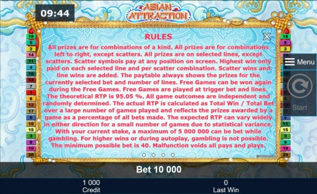 Asian Attraction :: General Game Rules - The theoretical average return to player (RTP) is 95.05%.