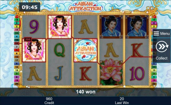 Asian Attraction :: A winning Three of a Kind triggers a 200.00 payout.