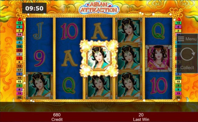 Asian Attraction :: Landing a woman symbol in the center position of the 3rd reel awards additional free games