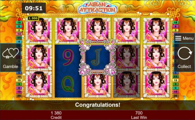 Asian Attraction :: Multiple winning paylines triggers a big win  during the free games feature!