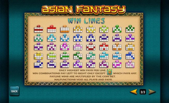 Slots Heaven featuring the Video Slots Asian Fantasy with a maximum payout of $30,000