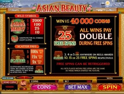Kerching featuring the Video Slots Asian Beauty with a maximum payout of $10,000