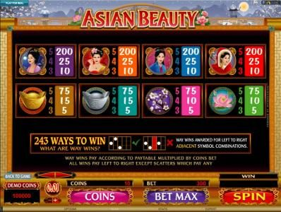 Play slots at Ruby Fortune: Ruby Fortune featuring the Video Slots Asian Beauty with a maximum payout of $10,000
