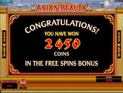 2450 coins awarded at the end of the free spins bonus