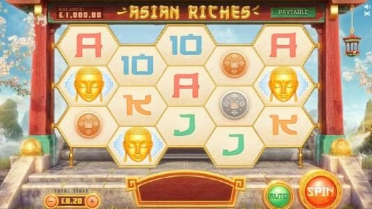 main game board featuring five reels and 15 paylines