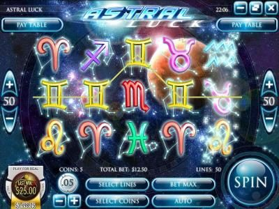 Break Away featuring the Video Slots Astral Luck with a maximum payout of $18,750
