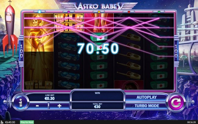 Royal Dice featuring the Video Slots Astro babes with a maximum payout of $500,000