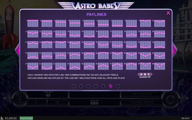 Vernons featuring the Video Slots Astro Babes with a maximum payout of $500,000