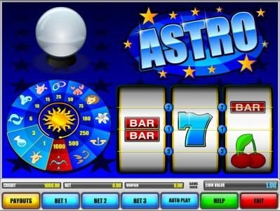 Astro :: main game board featuring three reels and three paylines