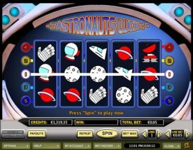 Celtic featuring the Video Slots Astronaut's Luck with a maximum payout of $10,000