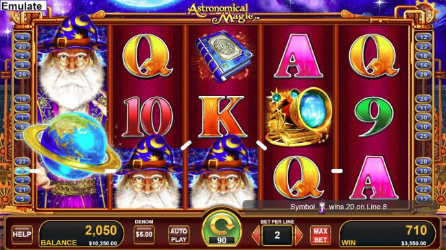 Jackpot Mobile featuring the Video Slots Astronomical Magic with a maximum payout of $50,000
