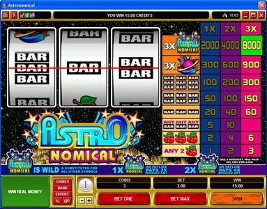 Bonanza featuring the Video Slots Astronomical with a maximum payout of $40,000