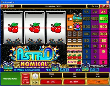 Casino Action featuring the Video Slots Astronomical with a maximum payout of $40,000