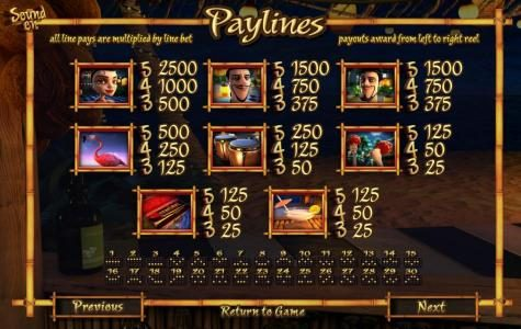 At The Copa :: slot game paytable and payline diagrams