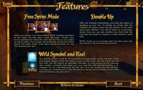 free spins mode, double up and wild symbol and reel rules