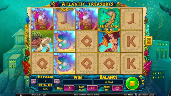 Play 24 Bet featuring the Video Slots Atlantic Treasures with a maximum payout of $1,800