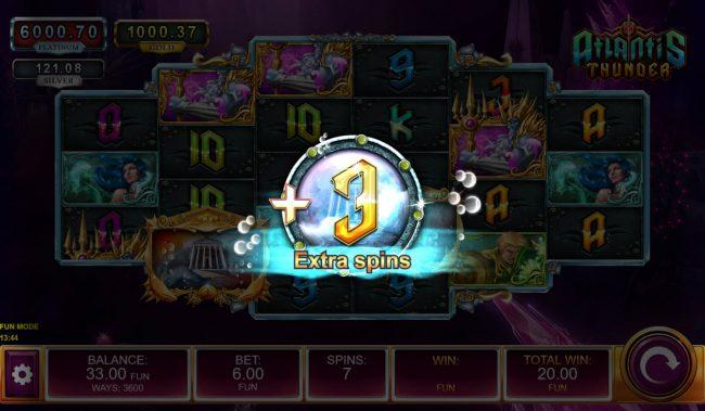 Atlantis Thunder :: Landing additional scatter symbols will award 3 more spins