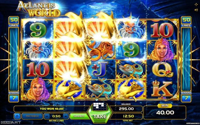 Vegas Crest featuring the Video Slots Atlantis World with a maximum payout of $6,250