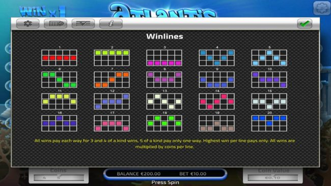 Big Spin featuring the Video Slots Atlantis with a maximum payout of $50,000
