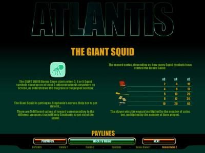 The Giant Squid bonus game rules